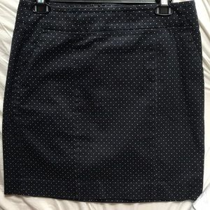 Stretch Cotton Navy White Polka Dot Mini Skirt